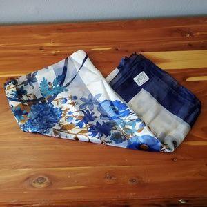 Accessories - Blue & white silk floral scarf